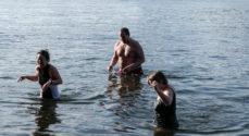 Søndags-baderne i Augustenborg manglede ikke vand
