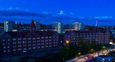 Lys i vinduerne på kasernen, slottet og Ahlmann-Skolen